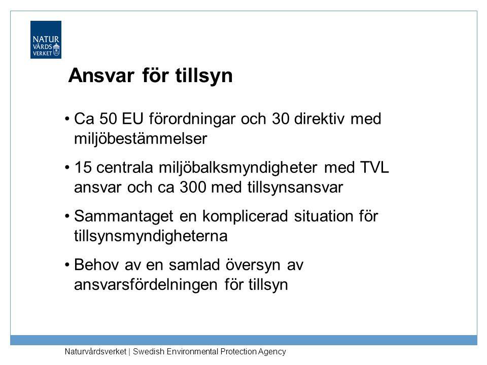 Naturvårdsverket | Swedish Environmental Protection Agency Ansvar för tillsyn •Ca 50 EU förordningar och 30 direktiv med miljöbestämmelser •15 central