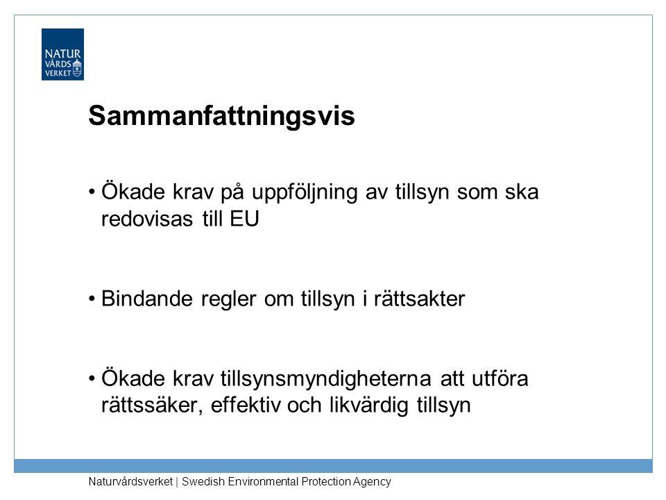 Naturvårdsverket | Swedish Environmental Protection Agency Sammanfattningsvis •Ökade krav på uppföljning av tillsyn som ska redovisas till EU •Bindand