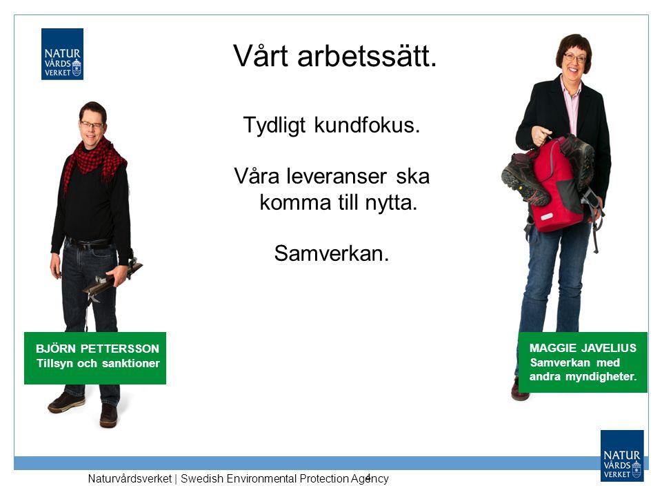 Naturvårdsverket | Swedish Environmental Protection Agency Vårt arbetssätt. Tydligt kundfokus. Våra leveranser ska komma till nytta. Samverkan. 4 MAGG