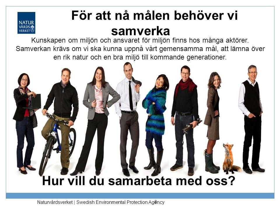 Naturvårdsverket | Swedish Environmental Protection Agency För att nå målen behöver vi samverka 8 Kunskapen om miljön och ansvaret för miljön finns ho
