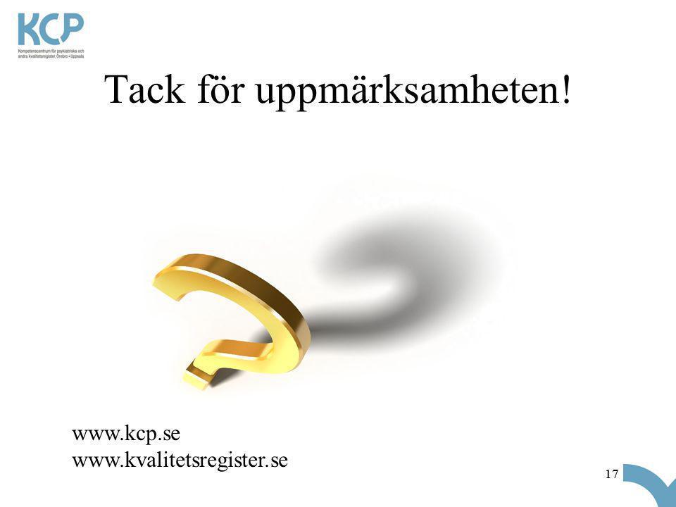 17 Tack för uppmärksamheten! www.kcp.se www.kvalitetsregister.se