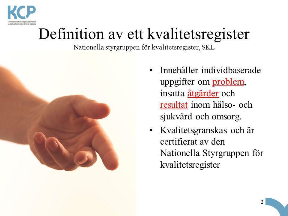 22 Definition av ett kvalitetsregister Nationella styrgruppen för kvalitetsregister, SKL •Innehåller individbaserade uppgifter om problem, insatta åtg