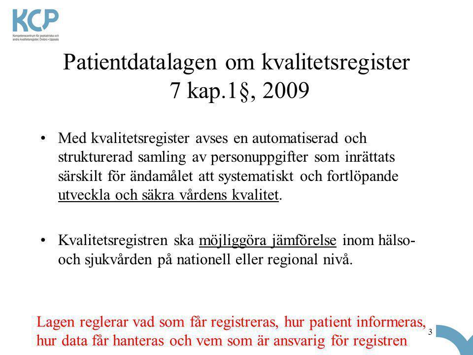 3 Patientdatalagen om kvalitetsregister 7 kap.1§, 2009 •Med kvalitetsregister avses en automatiserad och strukturerad samling av personuppgifter som inrättats särskilt för ändamålet att systematiskt och fortlöpande utveckla och säkra vårdens kvalitet.