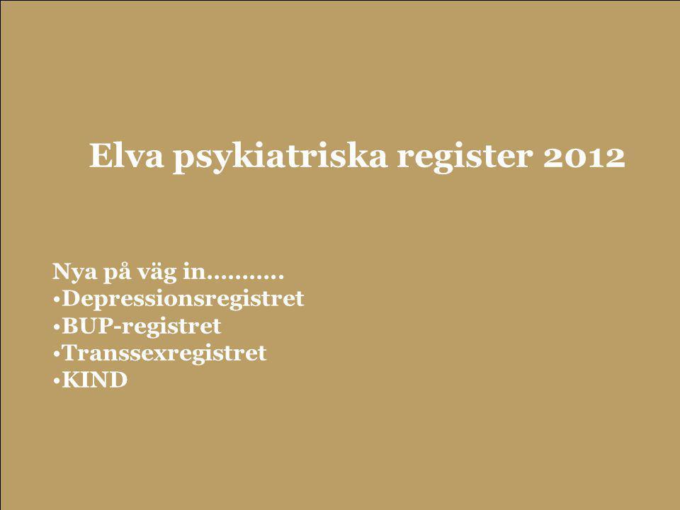 55 Elva psykiatriska register 2012 Nya på väg in……….. •Depressionsregistret •BUP-registret •Transsexregistret •KIND