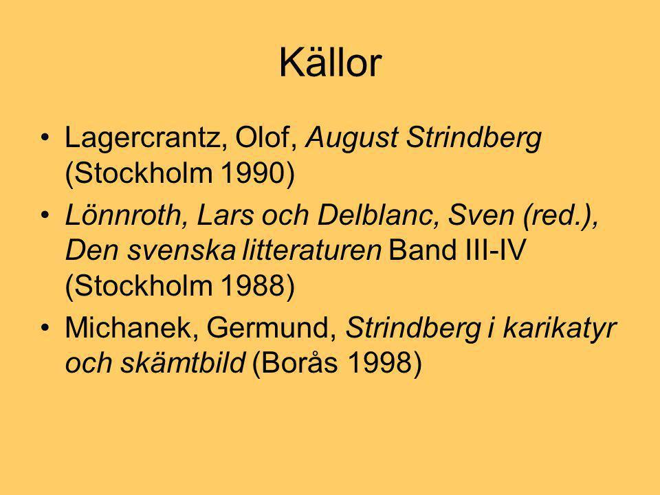 Källor •Lagercrantz, Olof, August Strindberg (Stockholm 1990) •Lönnroth, Lars och Delblanc, Sven (red.), Den svenska litteraturen Band III-IV (Stockholm 1988) •Michanek, Germund, Strindberg i karikatyr och skämtbild (Borås 1998)