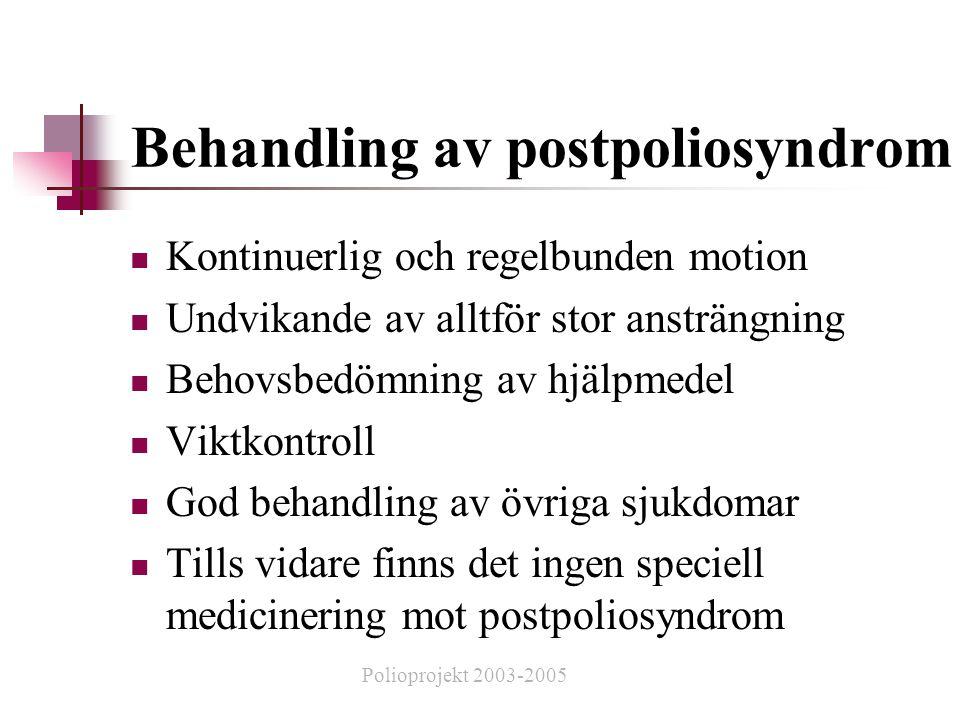 Behandling av postpoliosyndrom  Kontinuerlig och regelbunden motion  Undvikande av alltför stor ansträngning  Behovsbedömning av hjälpmedel  Viktkontroll  God behandling av övriga sjukdomar  Tills vidare finns det ingen speciell medicinering mot postpoliosyndrom Polioprojekt 2003-2005