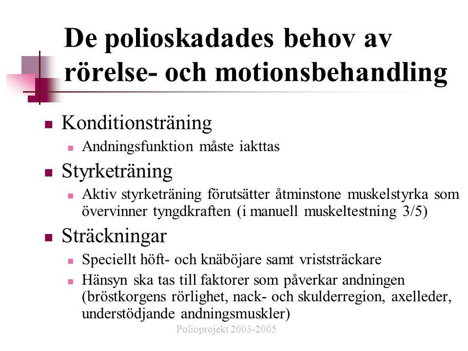De polioskadades behov av rörelse- och motionsbehandling  Konditionsträning  Andningsfunktion måste iakttas  Styrketräning  Aktiv styrketräning förutsätter åtminstone muskelstyrka som övervinner tyngdkraften (i manuell muskeltestning 3/5)  Sträckningar  Speciellt höft- och knäböjare samt vriststräckare  Hänsyn ska tas till faktorer som påverkar andningen (bröstkorgens rörlighet, nack- och skulderregion, axelleder, understödjande andningsmuskler) Polioprojekt 2003-2005