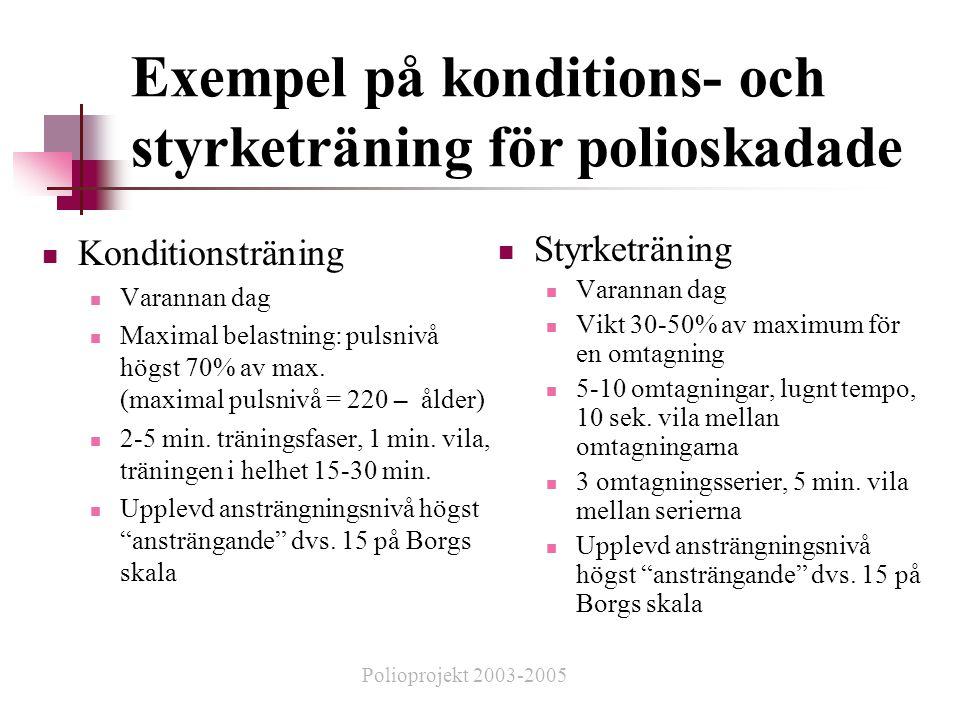 Exempel på konditions- och styrketräning för polioskadade  Konditionsträning  Varannan dag  Maximal belastning: pulsnivå högst 70% av max.