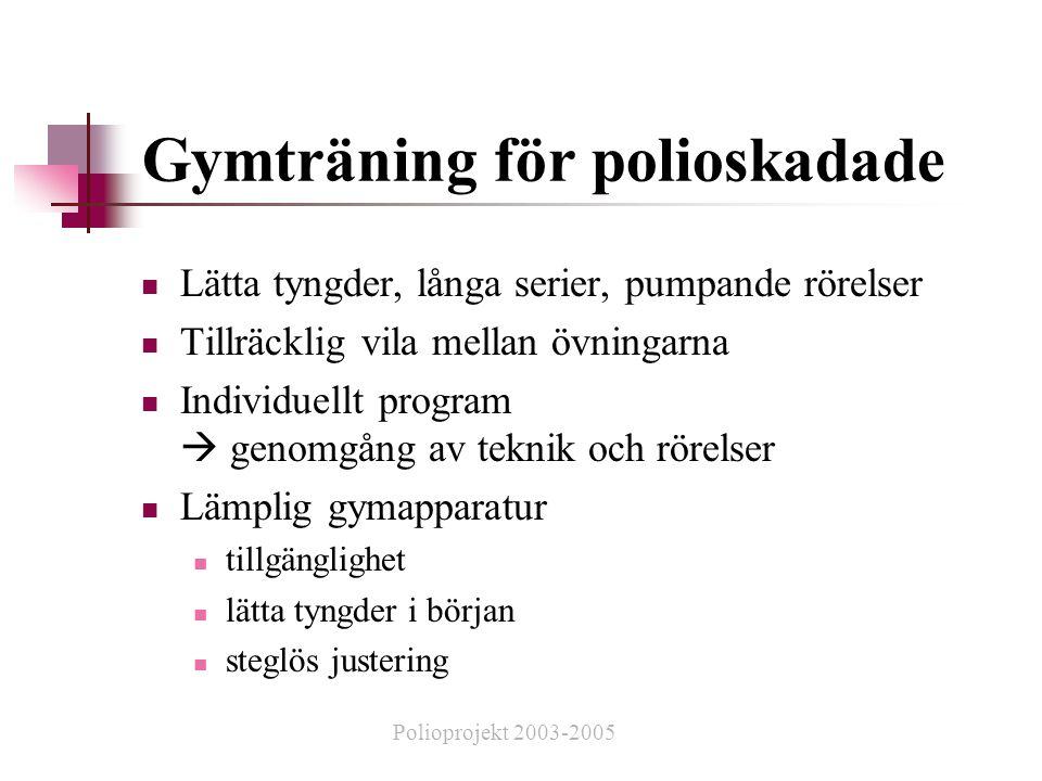 Gymträning för polioskadade  Lätta tyngder, långa serier, pumpande rörelser  Tillräcklig vila mellan övningarna  Individuellt program  genomgång av teknik och rörelser  Lämplig gymapparatur  tillgänglighet  lätta tyngder i början  steglös justering Polioprojekt 2003-2005