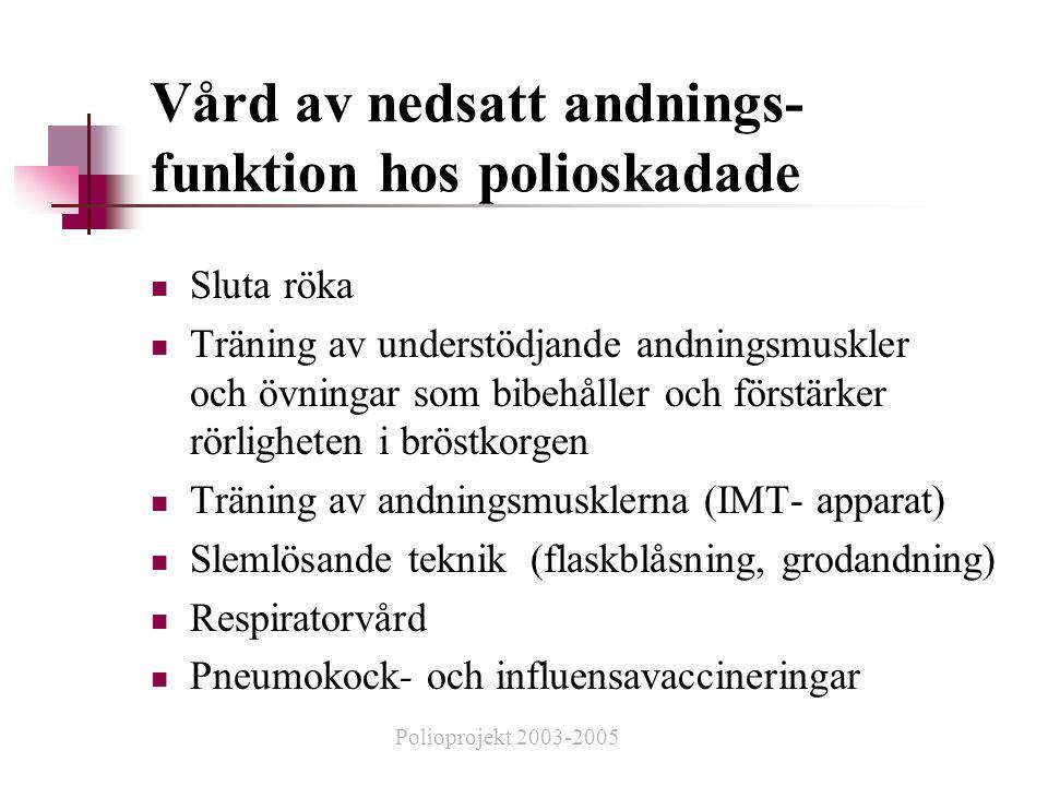 Vård av nedsatt andnings- funktion hos polioskadade  Sluta röka  Träning av understödjande andningsmuskler och övningar som bibehåller och förstärker rörligheten i bröstkorgen  Träning av andningsmusklerna (IMT- apparat)  Slemlösande teknik (flaskblåsning, grodandning)  Respiratorvård  Pneumokock- och influensavaccineringar Polioprojekt 2003-2005