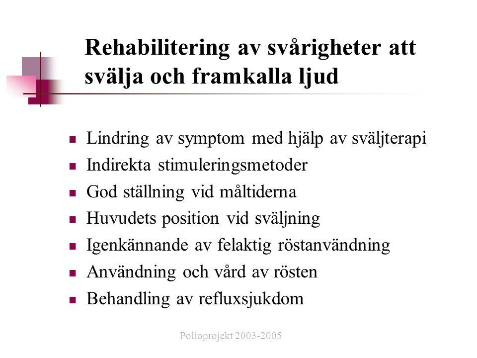 Rehabilitering av svårigheter att svälja och framkalla ljud  Lindring av symptom med hjälp av sväljterapi  Indirekta stimuleringsmetoder  God ställning vid måltiderna  Huvudets position vid sväljning  Igenkännande av felaktig röstanvändning  Användning och vård av rösten  Behandling av refluxsjukdom Polioprojekt 2003-2005