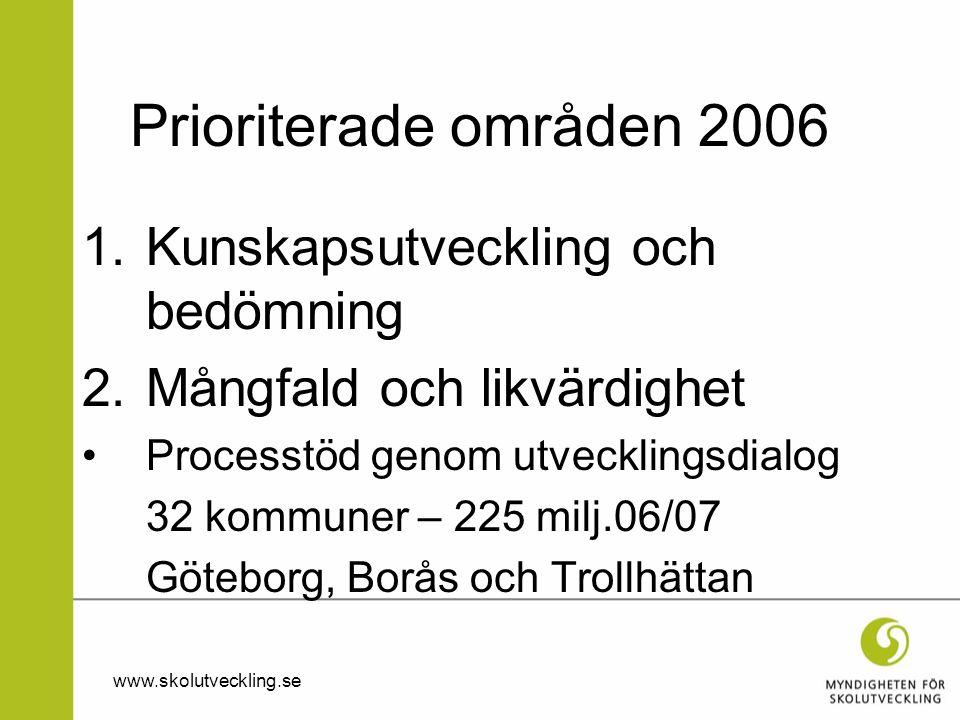 Prioriterade områden 2006 1.Kunskapsutveckling och bedömning 2.Mångfald och likvärdighet •Processtöd genom utvecklingsdialog 32 kommuner – 225 milj.06/07 Göteborg, Borås och Trollhättan www.skolutveckling.se