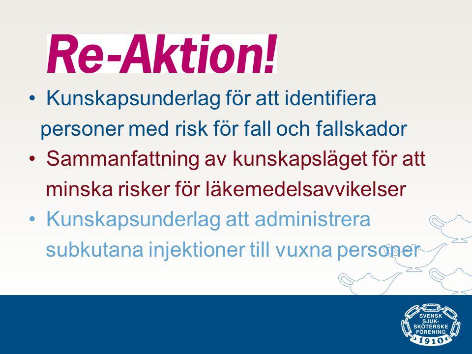 •Kunskapsunderlag för att identifiera personer med risk för fall och fallskador •Sammanfattning av kunskapsläget för att minska risker för läkemedelsa