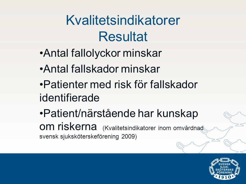 Kvalitetsindikatorer Resultat •Antal fallolyckor minskar •Antal fallskador minskar •Patienter med risk för fallskador identifierade •Patient/närstående har kunskap om riskerna (Kvalitetsindikatorer inom omvårdnad svensk sjuksköterskeförening 2009)