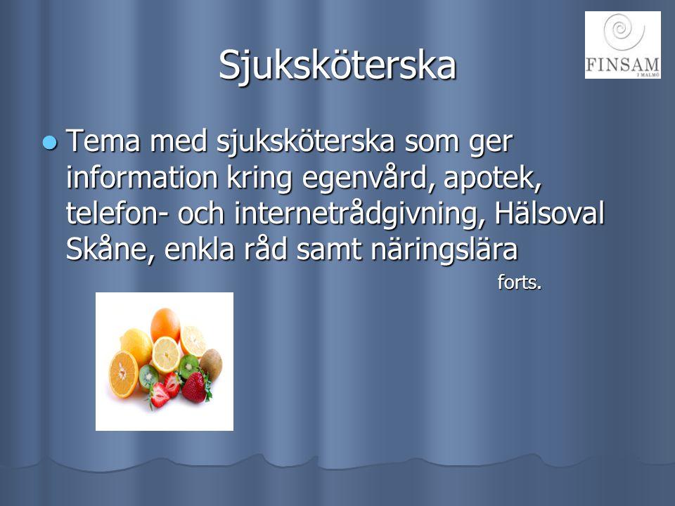 Sjuksköterska  Tema med sjuksköterska som ger information kring egenvård, apotek, telefon- och internetrådgivning, Hälsoval Skåne, enkla råd samt när