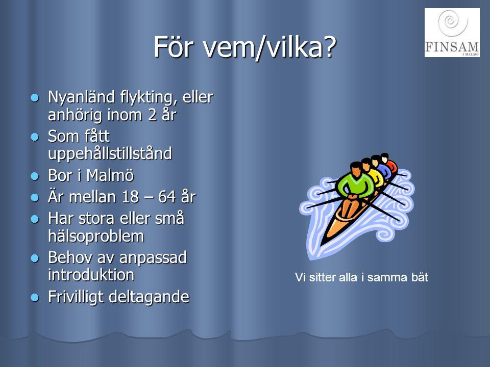 För vem/vilka?  Nyanländ flykting, eller anhörig inom 2 år  Som fått uppehållstillstånd  Bor i Malmö  Är mellan 18 – 64 år  Har stora eller små h