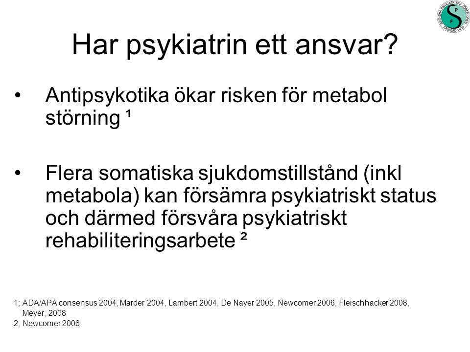 Har psykiatrin ett ansvar? •Antipsykotika ökar risken för metabol störning ¹ •Flera somatiska sjukdomstillstånd (inkl metabola) kan försämra psykiatri