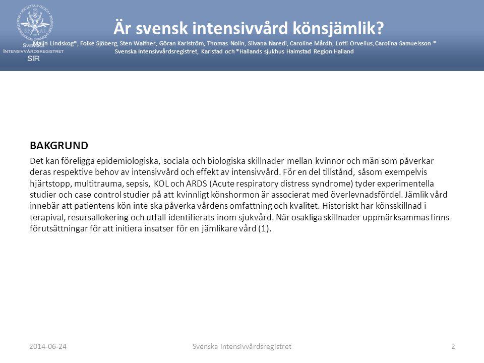 MÅL Att inom svensk intensivvård studera: • utnyttjande, resursallokering och utfall för kvinnor och män • om epidemiologiska data tyder på att fertila kvinnor har en överlevnadsfördel vid intensivvård av hjärtstopp, KOL, multitrauma, ARDS och sepsis • om organdonatorskap skiljer sig mellan kvinnor och män METOD Samtliga inrapporterade 55521 intensivvårdstillfällen hos patienter >15 år under jan 2009-mars 2011 från 48 sjukhus (57 IVA) med uppgift om sjukdomsgrad (SAPS3, Simplified Acute Physiology Score och EMR, Estimated Mortality Rate) studerades (2).