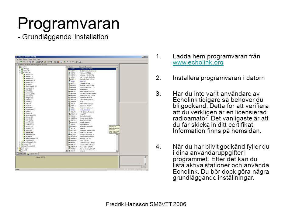 Fredrik Hansson SM6VTT 2006 Programvaran - Grundläggande installation 1.Ladda hem programvaran från www.echolink.org www.echolink.org 2.Installera pro