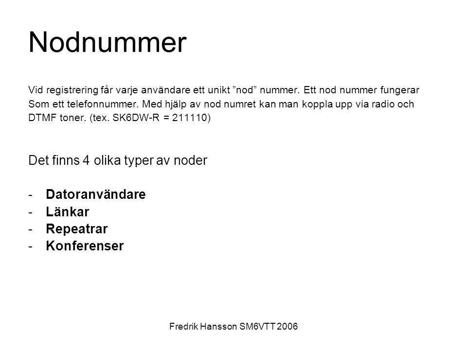 """Fredrik Hansson SM6VTT 2006 Nodnummer Vid registrering får varje användare ett unikt """"nod"""" nummer. Ett nod nummer fungerar Som ett telefonnummer. Med"""