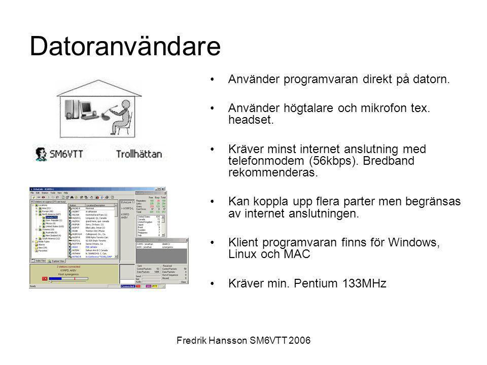 Fredrik Hansson SM6VTT 2006 Datoranvändare •Använder programvaran direkt på datorn. •Använder högtalare och mikrofon tex. headset. •Kräver minst inter