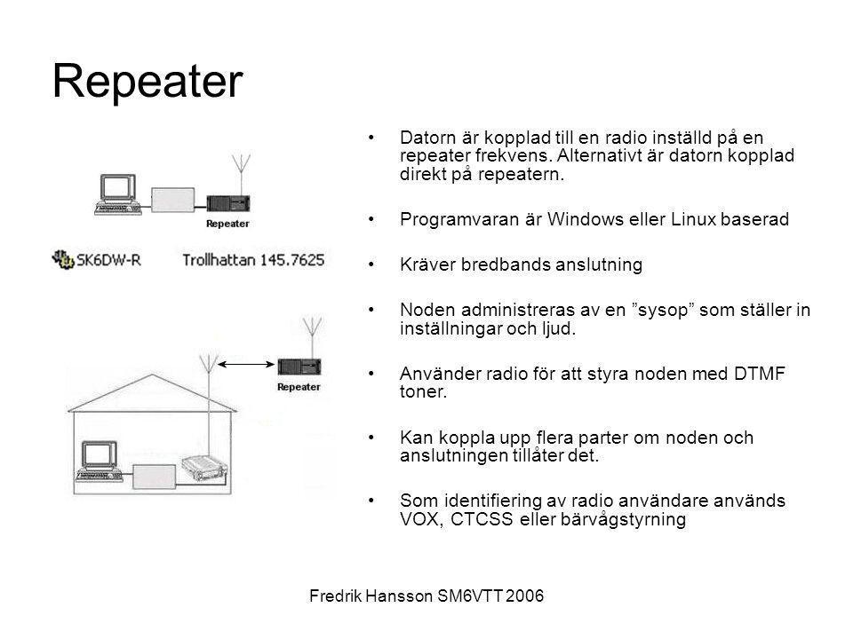 Fredrik Hansson SM6VTT 2006 Repeater •Datorn är kopplad till en radio inställd på en repeater frekvens. Alternativt är datorn kopplad direkt på repeat