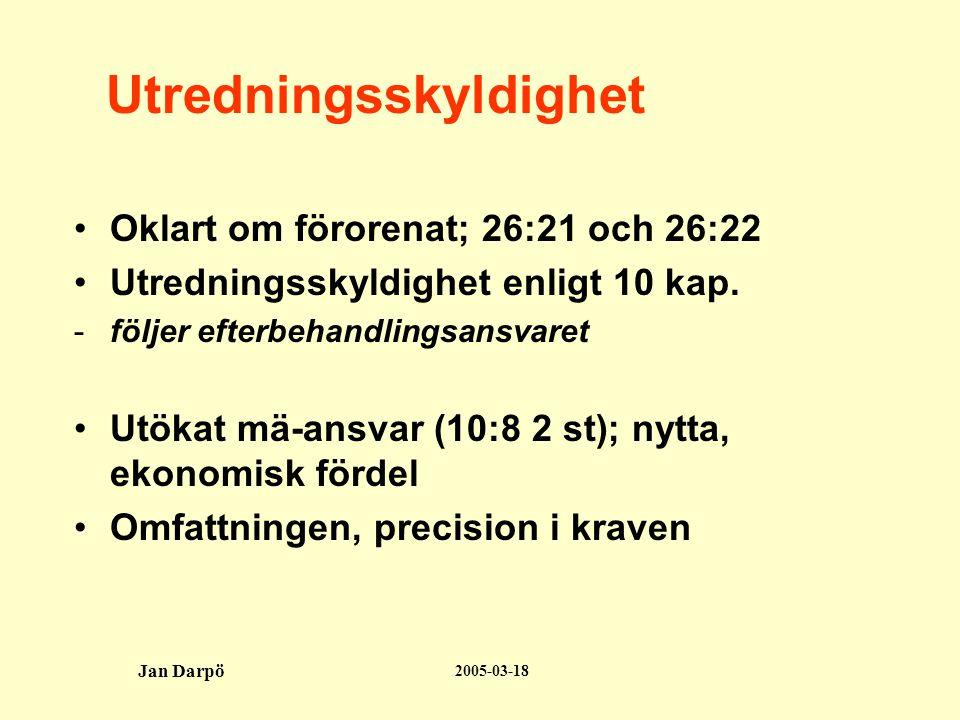 2005-03-18 Jan Darpö Utredningsskyldighet •Oklart om förorenat; 26:21 och 26:22 •Utredningsskyldighet enligt 10 kap.