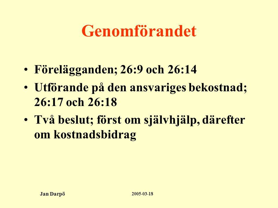 2005-03-18 Jan Darpö Genomförandet •Förelägganden; 26:9 och 26:14 •Utförande på den ansvariges bekostnad; 26:17 och 26:18 •Två beslut; först om självhjälp, därefter om kostnadsbidrag