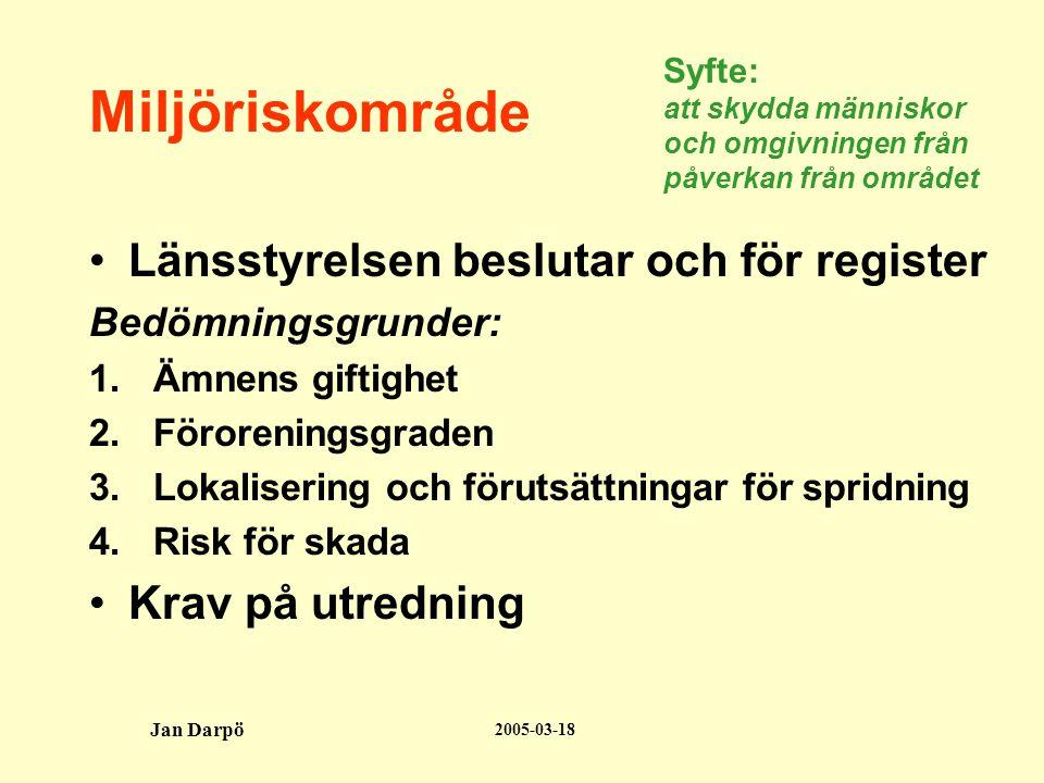 2005-03-18 Jan Darpö Miljöriskområde •Länsstyrelsen beslutar och för register Bedömningsgrunder: 1.Ämnens giftighet 2.