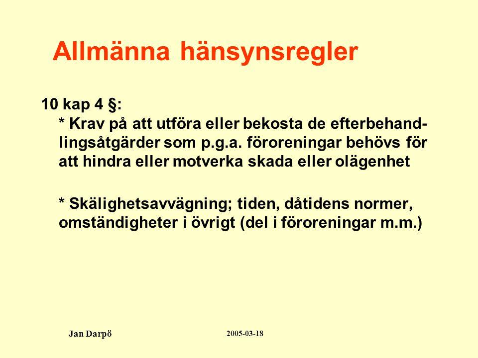 2005-03-18 Jan Darpö Allmänna hänsynsregler 10 kap 4 §: * Krav på att utföra eller bekosta de efterbehand- lingsåtgärder som p.g.a.