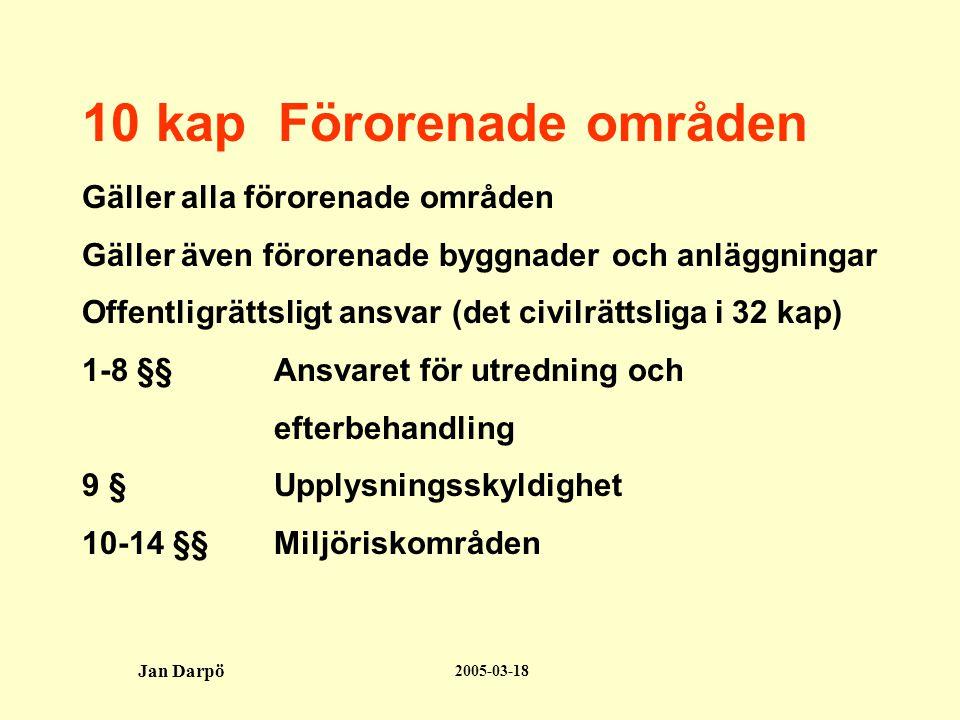 2005-03-18 Jan Darpö Tillämpningsområde - Alla förorenade områden som kan medföra negativ påverkan av hälsa och miljö - Mark, grundvatten, sediment, byggnader och anläggningar - Oberoende hur föroreningen uppkommit