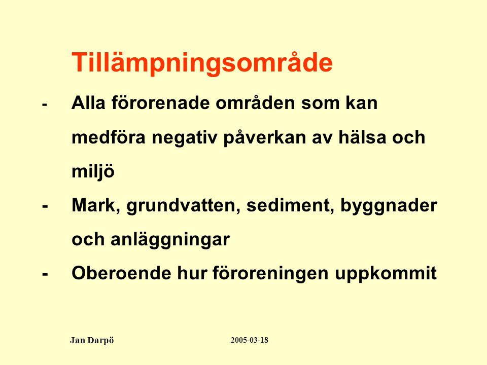 2005-03-18 Jan Darpö 1:a ansvarskretsen; 10:2 •Förorenaren; åtgärd eller verksamhet 1.