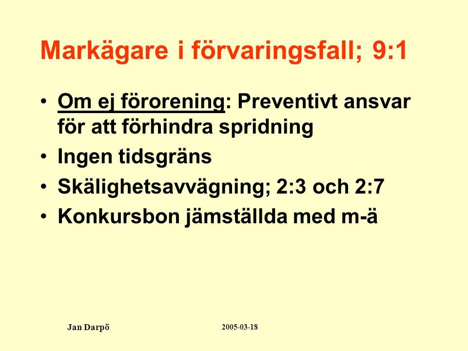 2005-03-18 Jan Darpö Markägare i förvaringsfall; 9:1 •Om ej förorening: Preventivt ansvar för att förhindra spridning •Ingen tidsgräns •Skälighetsavvägning; 2:3 och 2:7 •Konkursbon jämställda med m-ä