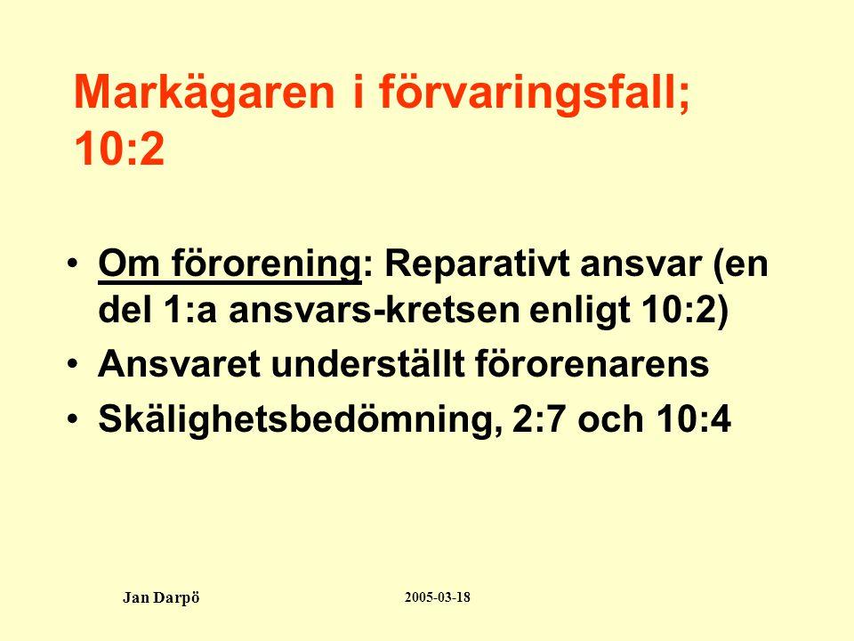 2005-03-18 Jan Darpö Markägaren i förvaringsfall; 10:2 •Om förorening: Reparativt ansvar (en del 1:a ansvars-kretsen enligt 10:2) •Ansvaret underställt förorenarens •Skälighetsbedömning, 2:7 och 10:4