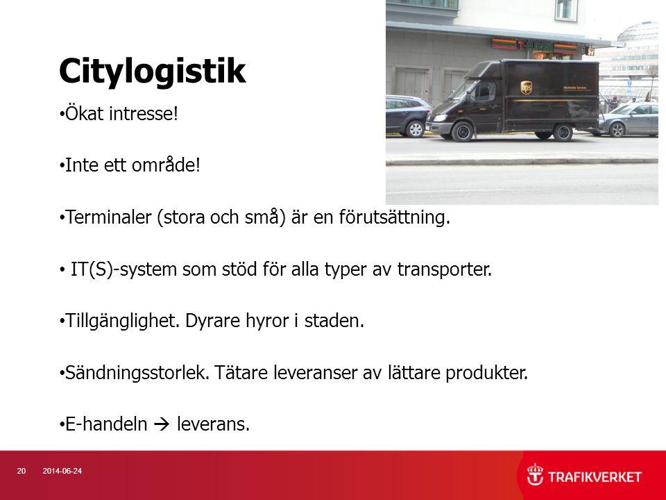 202014-06-24 • Ökat intresse! • Inte ett område! • Terminaler (stora och små) är en förutsättning. • IT(S)-system som stöd för alla typer av transport