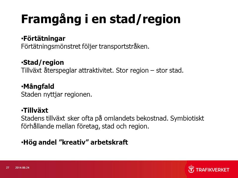 272014-06-24 • Förtätningar Förtätningsmönstret följer transportstråken. • Stad/region Tillväxt återspeglar attraktivitet. Stor region – stor stad. •
