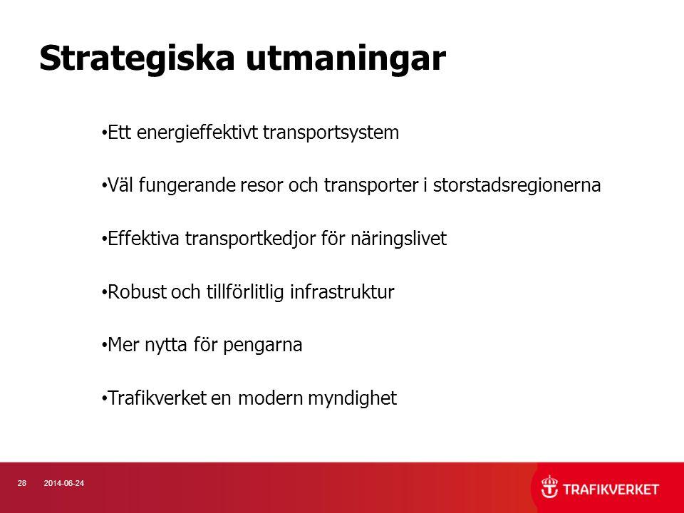 282014-06-24 Strategiska utmaningar • Ett energieffektivt transportsystem • Väl fungerande resor och transporter i storstadsregionerna • Effektiva tra