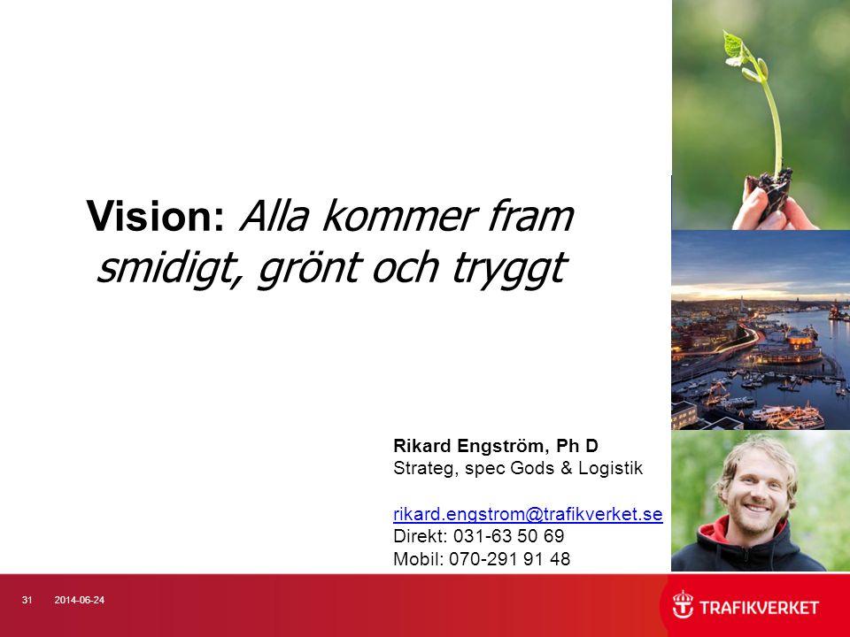 312014-06-24 Vision: Alla kommer fram smidigt, grönt och tryggt Rikard Engström, Ph D Strateg, spec Gods & Logistik rikard.engstrom@trafikverket.se Di