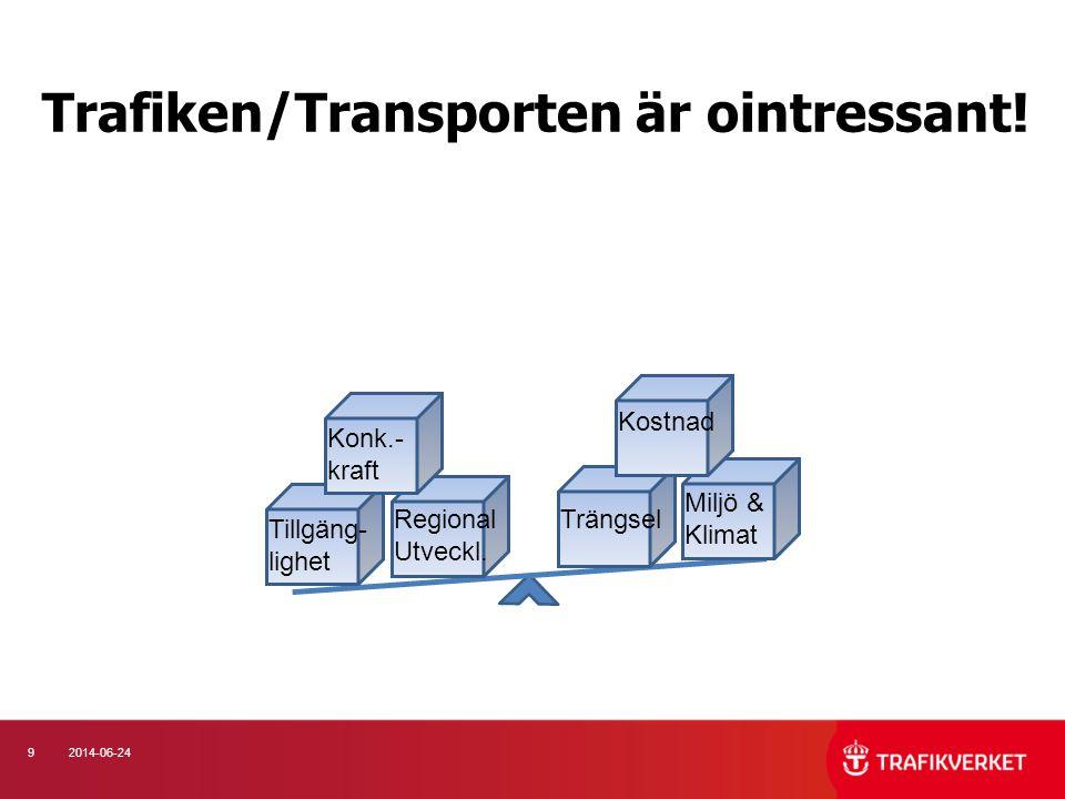 92014-06-24 Trafiken/Transporten är ointressant! Konk.- kraft Tillgäng- lighet Kostnad Miljö & Klimat Regional Utveckl. Trängsel