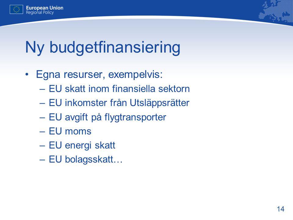 14 Ny budgetfinansiering •Egna resurser, exempelvis: –EU skatt inom finansiella sektorn –EU inkomster från Utsläppsrätter –EU avgift på flygtransporte