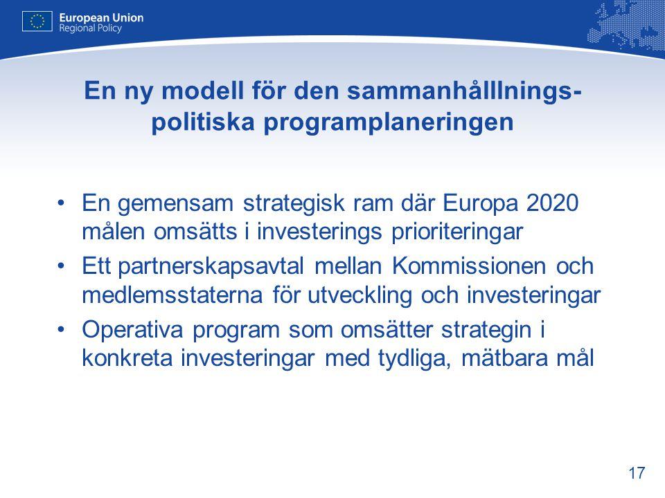 17 En ny modell för den sammanhålllnings- politiska programplaneringen •En gemensam strategisk ram där Europa 2020 målen omsätts i investerings priori