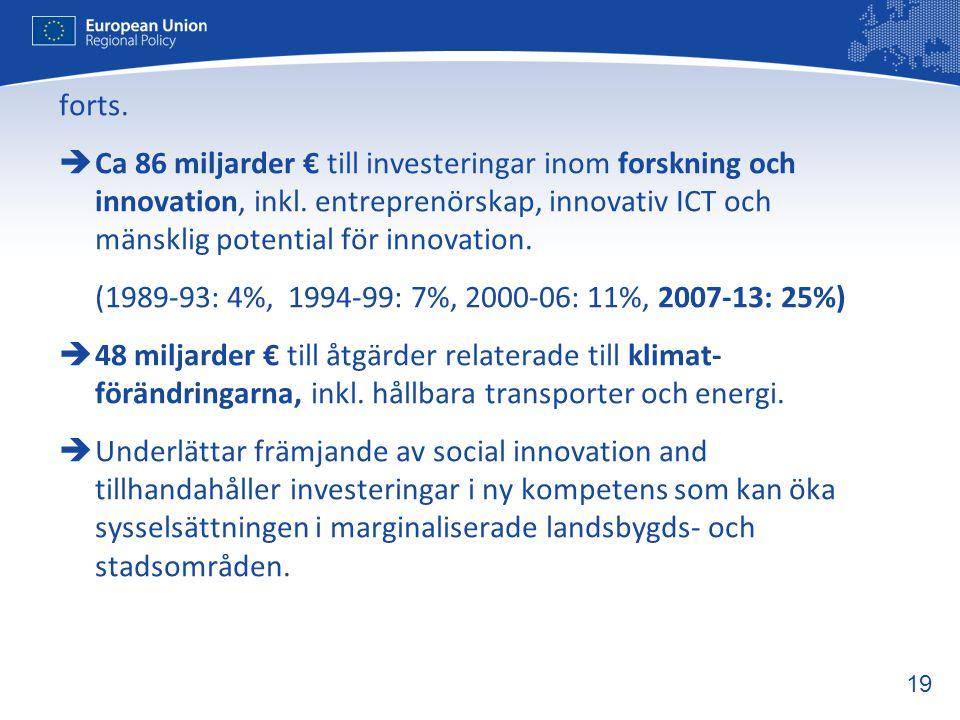 19 forts.  Ca 86 miljarder € till investeringar inom forskning och innovation, inkl. entreprenörskap, innovativ ICT och mänsklig potential för innova