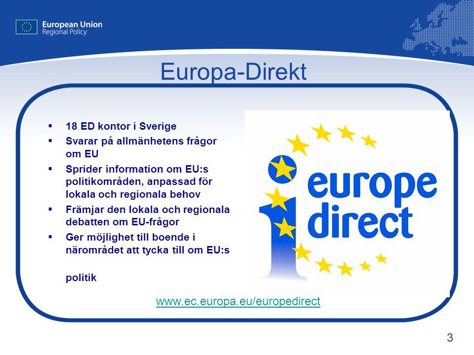 3 Europa-Direkt  18 ED kontor i Sverige  Svarar på allmänhetens frågor om EU  Sprider information om EU:s politikområden, anpassad för lokala och r
