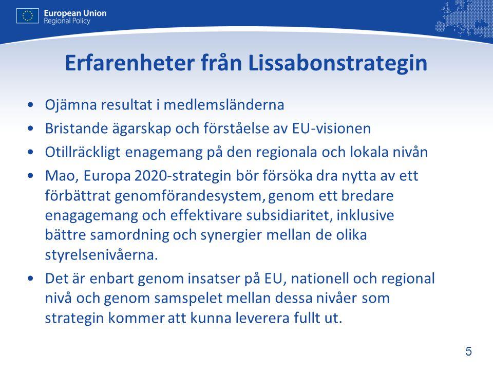 16 5:e sammanhållningsrapporten: Öka det europeiska mervärdet •Stärka den strategiska planeringen för att •översätta målen för Europa 2020 till investeringsprioriteringar – tydlig vägledning på EU-nivå •Koncentrera resurserna till ett begränsat antal huvudprioriteringar •Införa starkare incitament och villkor – sanktioner, kontroll av additionalitetsprincipen, prestandareserv •Förbättra utvärdering, prestation och resultat – indikatorer, konsekvensanalyser •Större tonvikt på nya finansiella instrument – hävstångseffekt och kombinationer av bidrag och lån