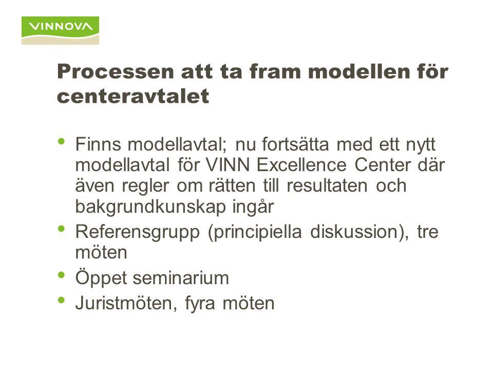 Processen att ta fram modellen för centeravtalet • Finns modellavtal; nu fortsätta med ett nytt modellavtal för VINN Excellence Center där även regler