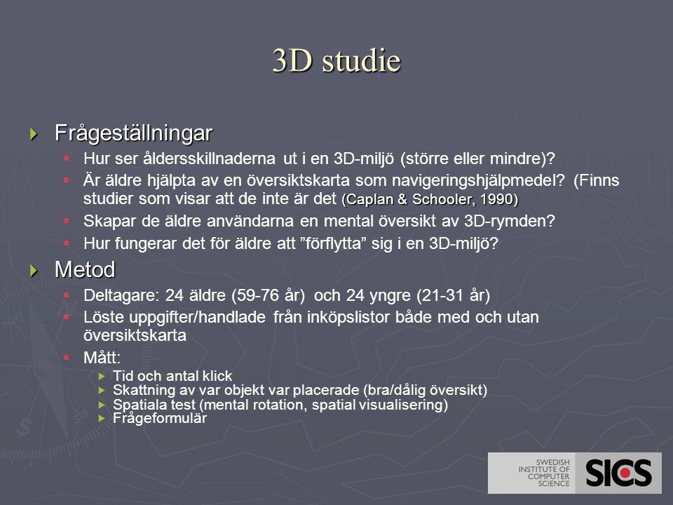 3D studie  Frågeställningar   Hur ser åldersskillnaderna ut i en 3D-miljö (större eller mindre)?  (Caplan & Schooler, 1990)  Är äldre hjälpta av