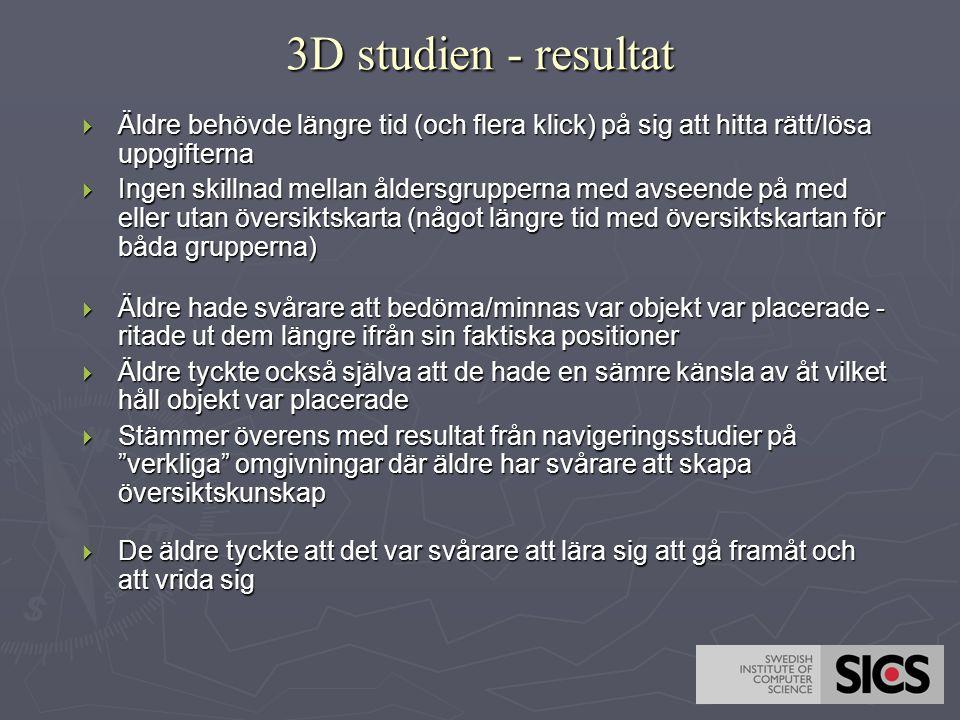 3D studien - resultat  Äldre behövde längre tid (och flera klick) på sig att hitta rätt/lösa uppgifterna  Ingen skillnad mellan åldersgrupperna med