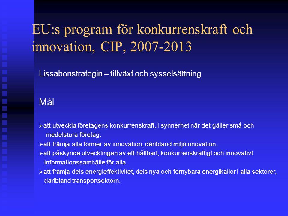 EU:s program för konkurrenskraft och innovation, CIP, 2007-2013 Lissabonstrategin – tillväxt och sysselsättning Mål  att utveckla företagens konkurrenskraft, i synnerhet när det gäller små och medelstora företag.