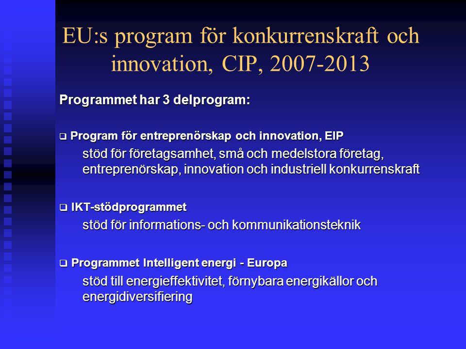 EU:s program för konkurrenskraft och innovation, CIP, 2007-2013 Programmet har 3 delprogram:  Program för entreprenörskap och innovation, EIP stöd för företagsamhet, små och medelstora företag, entreprenörskap, innovation och industriell konkurrenskraft  IKT-stödprogrammet stöd för informations- och kommunikationsteknik  Programmet Intelligent energi - Europa stöd till energieffektivitet, förnybara energikällor och energidiversifiering
