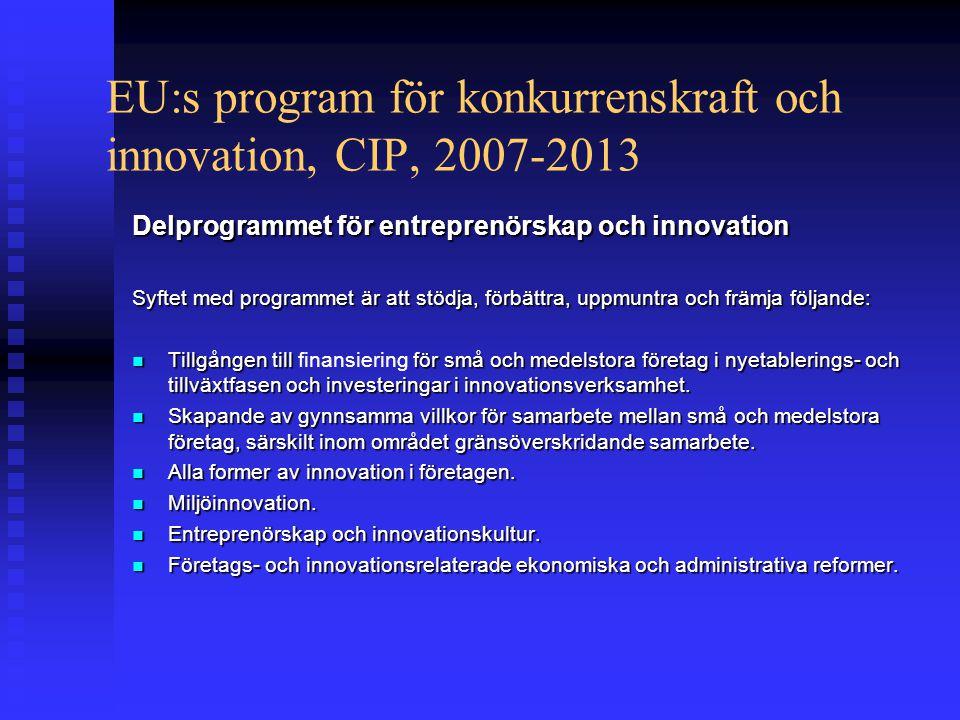 EU:s program för konkurrenskraft och innovation, CIP, 2007-2013 Delprogrammet för entreprenörskap och innovation Syftet med programmet är att stödja, förbättra, uppmuntra och främja följande:  Tillgången till för små och medelstora företag i nyetablerings- och tillväxtfasen och investeringar i innovationsverksamhet.